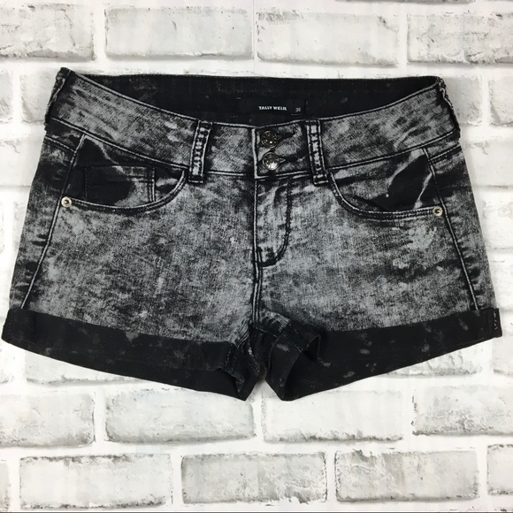 Tally Weijl Pants - Tally Weijl Black Acid Wash Shorts